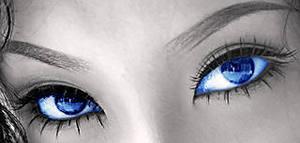 темно-голубой цвет глаз. Макияж от Орифлейм